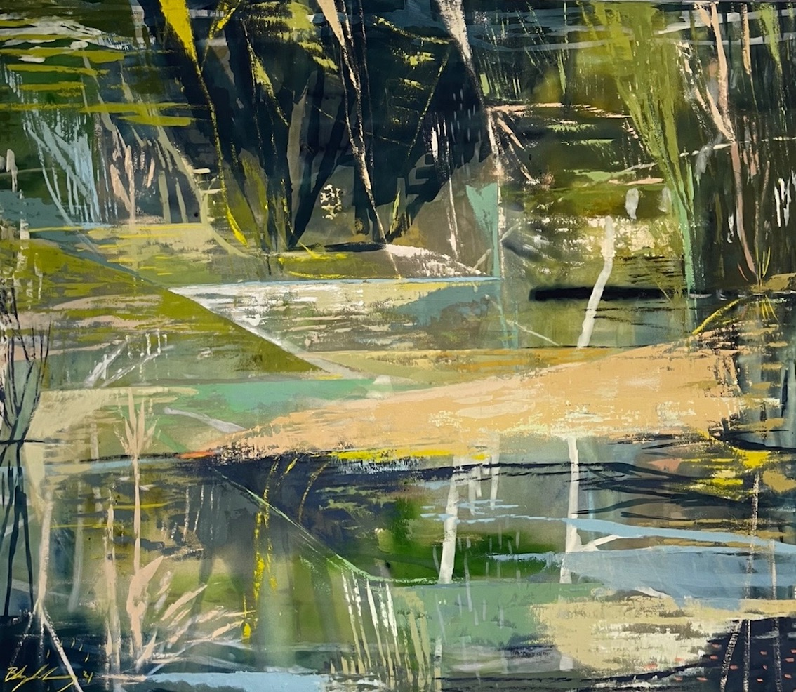 KANGAROO PAWS WITH DISTANT LANDSCAPE II. SOLD